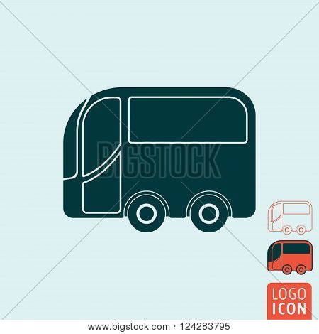Bus icon. Bus symbol. Cartoon bus icon isolated, minimal design. Vector illustration