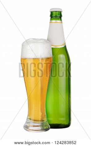 Green Bottle and glass of beer isolated on white background.