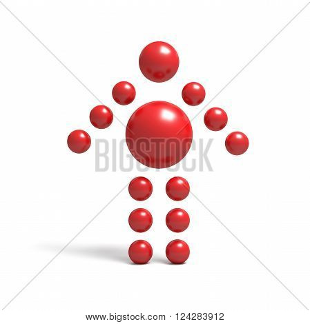 3D abstract Ballman arrowlike character on a white background