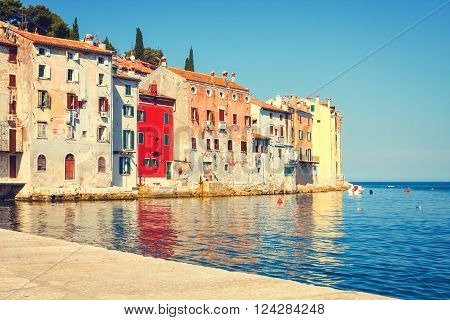 View On Old Town In Rovinj, Istria, Croatia. Vintage Look