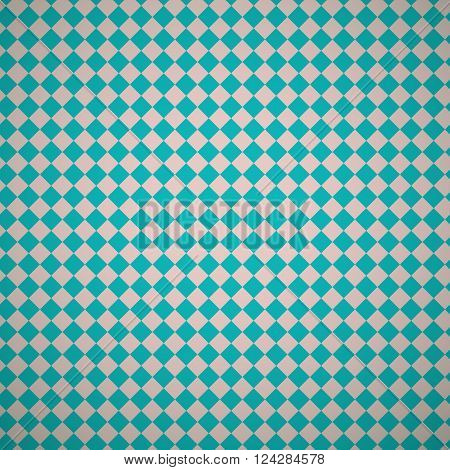 Vintage turquiose diamond seamless pattern. Vector illustration. Endless texture for wallpaper, fill, web page background, surface texture. Shabby geometric ornament.