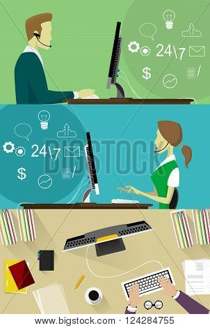 Flat design colorful vector illustration concept for call center, client support service isolated on bright background. Vector