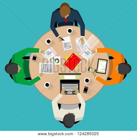 Business meeting and brainstorming. Teamwork concept. Flat design.