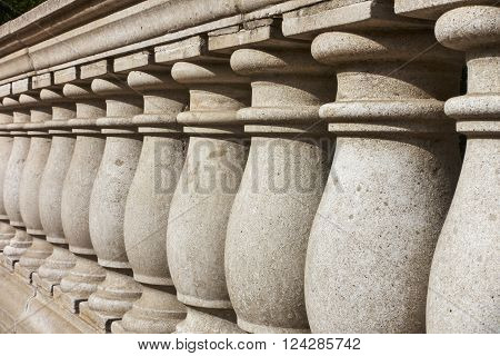 View of outdoor balustrade showing row of columns