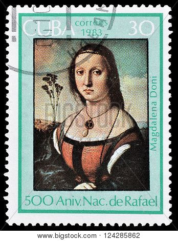 CUBA - CIRCA 1985 : Cancelled postage stamp printed by Cuba, that shows Portrait of Maddalena Doni, circa 1983.