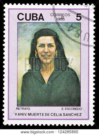 CUBA - CIRCA 1985 :Cancelled postage stamp printed by Cuba, that shows portrait of  Celia Sanchez.