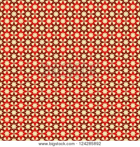 Seamless pattern with red and dark red stars on tan (beige) background