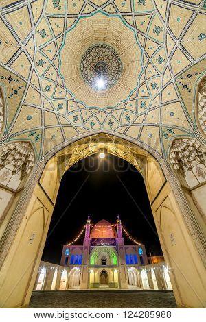 Kashan, Iran - December 8, 2015: Beautiful ceiling of Agha Bozorg Mosque in Kashan, Iran