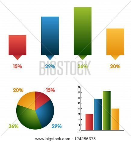 Set of 3 different graphs (charts) with the same data and colors - pie (round) bar chart and infographic elements isolated on white ready for your infographic