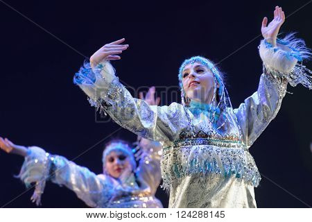 ST. PETERSBURG, RUSSIA - MARCH 28, 2016: Dancing group Angels perform at the opening ceremony of Festival of Choreographic Art Pari Grand. Artists from 9 countries participated in the festival
