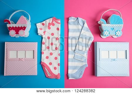 Kid's set on pink and blue background