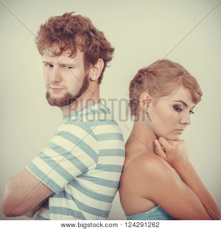 Young Couple After Quarrel Offended Back To Back