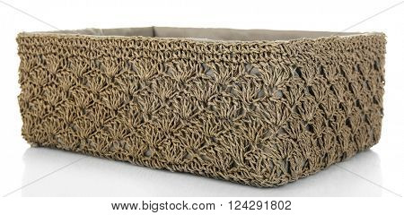 Wicker basket for home things isolated on white