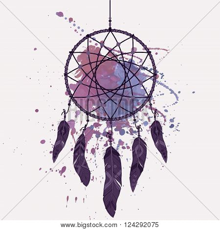 Vector illustration of dream catcher with watercolor splash