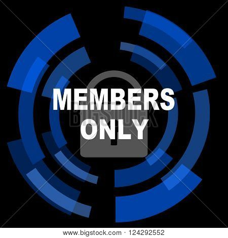 members only black background simple web icon