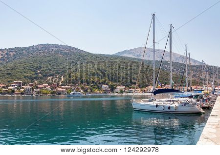 Yachts in Agia Effimia port on Kefalonia Greece