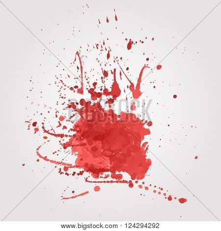 Vector abstract illustration of blood splatter. Watercolor splash