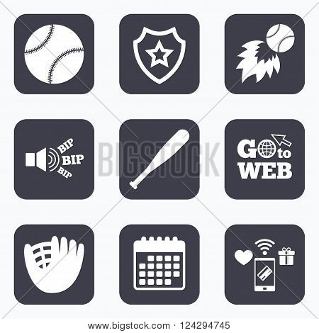 Mobile payments, wifi and calendar icons. Baseball sport icons. Ball with glove and bat signs. Fireball symbol. Go to web symbol.