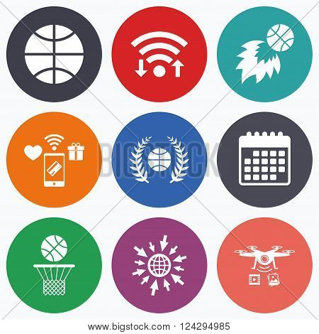 Wifi, mobile payments and drones icons. Basketball sport icons. Ball with basket and fireball signs. Laurel wreath symbol. Calendar symbol.