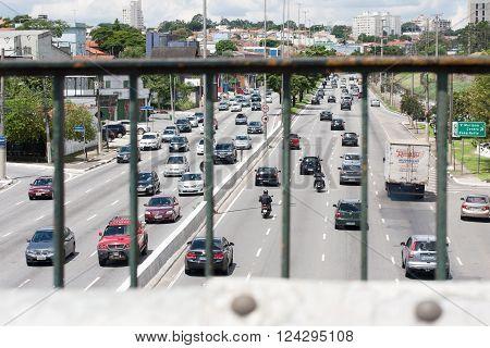 SAO PAULO BRAZIL - MARCH 5 2016: Cars on Avenida dos Bandeirantes