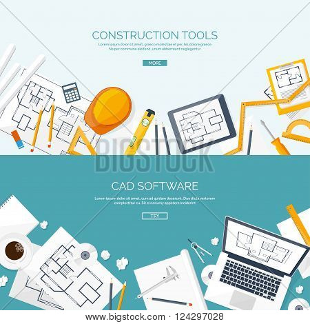 Vector illustration. Engineering and architecture. Notebook, software. Drawing, construction.  Architectural project. Workspace with tools. Planning and building.