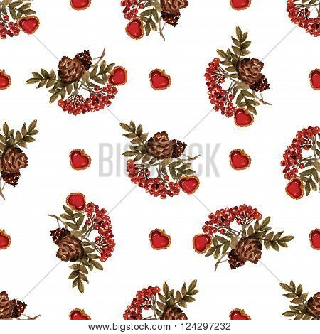 Autumn seamless pattern with colored berries of rowan, leaves, cones, hearts. Vector for Christmas, halloween, new year, St.Valentine, womens day, Thanksgiving. For wrap, textile, wallpaper, packaging.