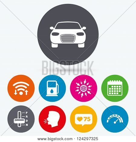 Wifi, like counter and calendar icons. Transport icons. Car tachometer and automatic transmission symbols. Petrol or Gas station sign. Human talk, go to web.