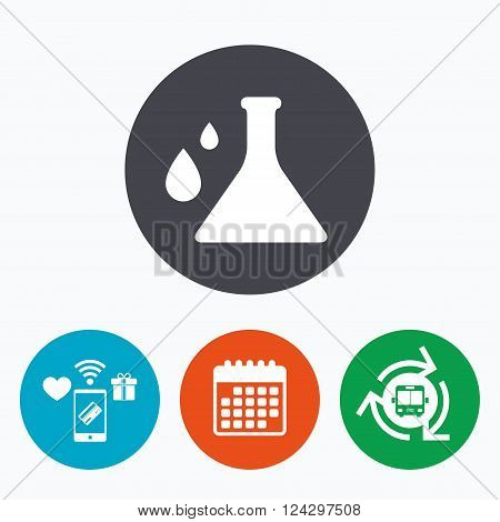 Chemistry sign icon. Bulb symbol with drops. Lab icon. Mobile payments, calendar and wifi icons. Bus shuttle.
