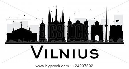 Vilnius City skyline black and white silhouette. Vector illustration. Simple flat concept for tourism presentation, banner, placard or web site. Business travel concept. Cityscape with landmarks