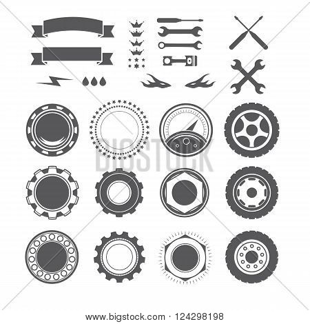 Set to create a vintage logo, badge, emblem or logotype element for mechanic, garage, car repair, auto service