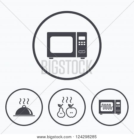 Microwave grill oven icons. Cooking apple and pear signs. Food platter serving symbol. Icons in circles.