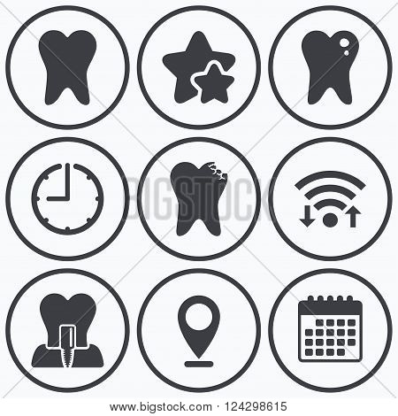 Clock, wifi and stars icons. Dental care icons. Caries tooth sign. Tooth endosseous implant symbol. Calendar symbol.
