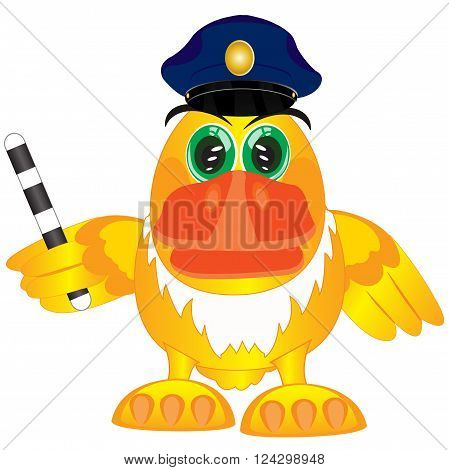 Cartoon of the bird with truncheon in service cap of the police bodies