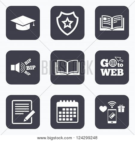 Mobile payments, wifi and calendar icons. Pencil with document and open book icons. Graduation cap symbol. Higher education learn signs. Go to web symbol.
