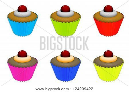 Illustration of assorted  cupcakes with frosting and a cherry on top