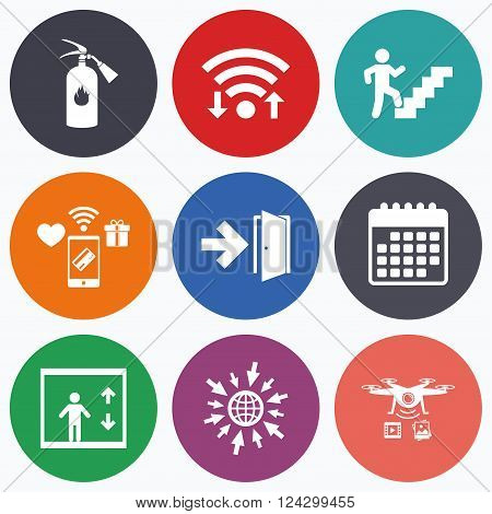 Wifi, mobile payments and drones icons. Emergency exit icons. Fire extinguisher sign. Elevator or lift symbol. Fire exit through the stairwell. Calendar symbol.