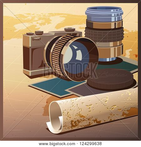 Stylized vector illustration on the theme of photography and travels. The camera lenses and maps.