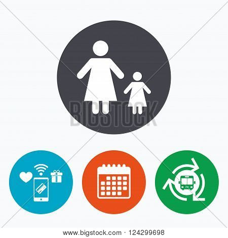 One-parent family with one child sign icon. Mother with daughter symbol. Mobile payments, calendar and wifi icons. Bus shuttle.