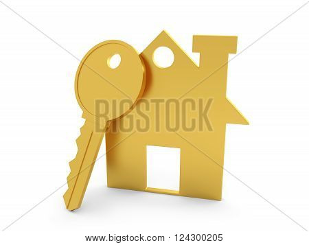 Home with Key Model -3D Rendered Image