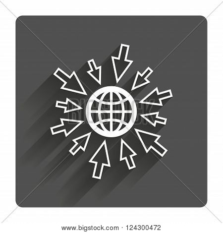 Go to Web icon. Globe with mouse cursor sign. Internet access symbol. Gray flat square button with shadow. Modern UI website navigation.