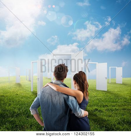 Couple in front of white doors open