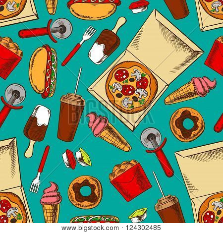 Retro color fast food background with seamless pattern of hot dogs and pizza, fried chicken wings and chocolate glazed donuts, ice cream and soda cups, takeaway sauces and pizza cutters