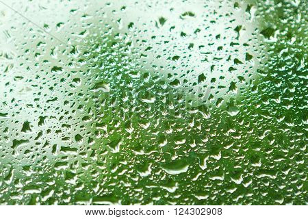 Water Flow Down The Glass After Rain