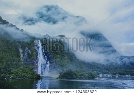water falls in milford sound important traveling destination in fiordland national park south island new zealand