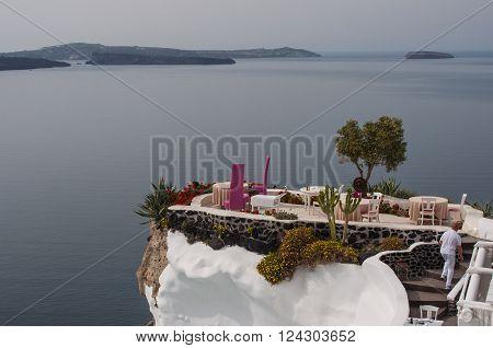 Outdoor sitting dining area in Santorini, Greece