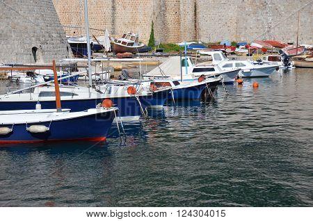 Motor yacht over harbor pier Croatia Europe