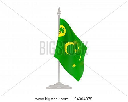 Flag Of Cocos Islands With Flagpole. 3D Render