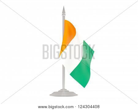Flag Of Cote D Ivoire With Flagpole. 3D Render