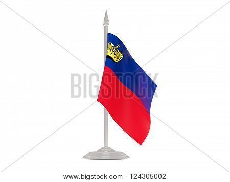 Flag Of Liechtenstein With Flagpole. 3D Render