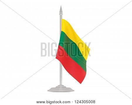Flag Of Lithuania With Flagpole. 3D Render